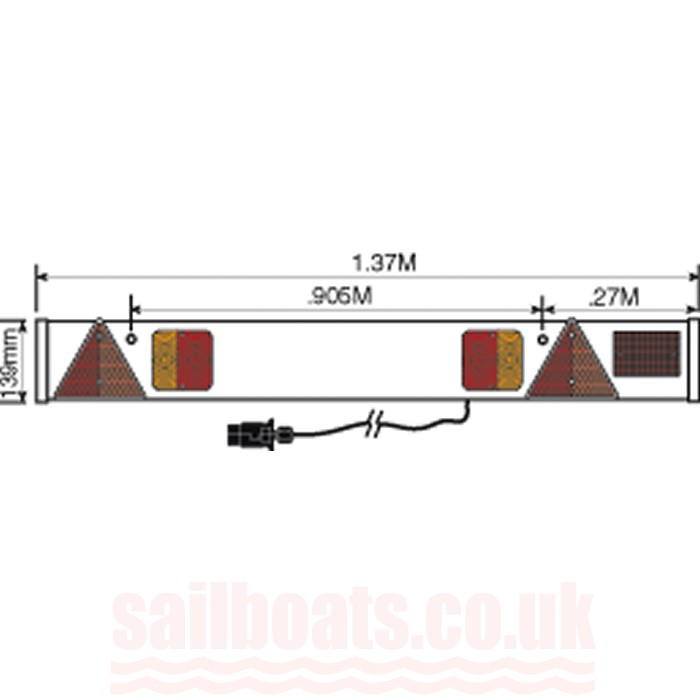Trailer Lighting Board with Fog Light 7 Metre Cable